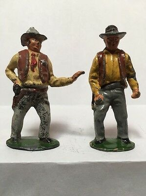 2 X Vintage Lead Timpo Cowboys Western Wild West Outlaw Sheriff Hopalong Cassidy