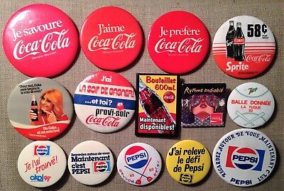 Lot 14 Coca Cola Pepsi 7-UP Buttons Ad