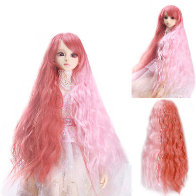 Lovely Fashion Long Watermelon Red Pink Mixed Curly Wavy Wig For 1/3 BJD SD Doll