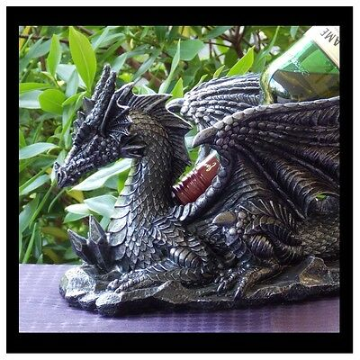 32Cm Black/silver Dragon Bottle Holder - New In Box - Fantasy/gothic Giftware