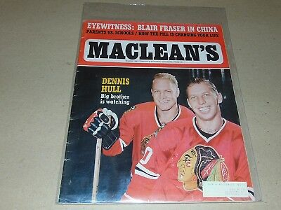 March 1967 Canadian Macleans Magazine Bobby And Dennis Hull Chicago Blackhawks