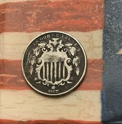 1867 5C Shield Nickel Vintage US Copper Coin #FH72 WOW Very Sharp