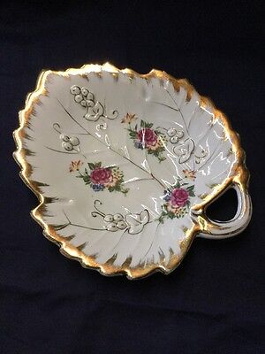 Vintage Estate Collectable Nathco Floral Gold Leaf Vanity Pin Dish