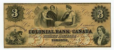 1859 $3 The Colonial Bank - Toronto, CANADA Note