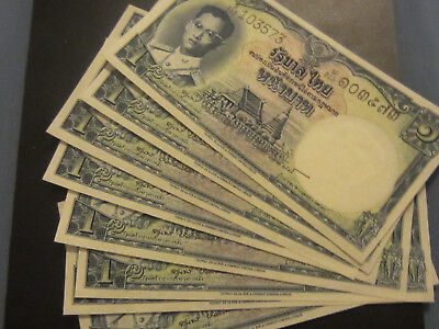 Thailand Banknotes, 1 Baht 8 Consecutive UNC Notes, US Buyers Only
