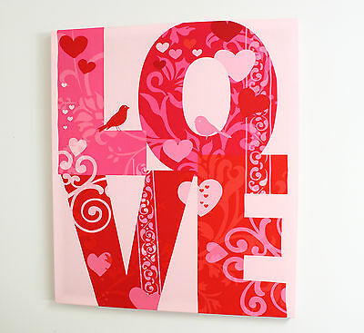 LOVE PINK WORD FABRIC WALL ART PICTURE FRAME GIRLS BEDROOM NURSERY 100x85cm SALE