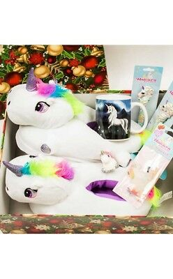 Fantasy Unicorn Slippers + Novelties Collectables Xmas Gift Pack Limited