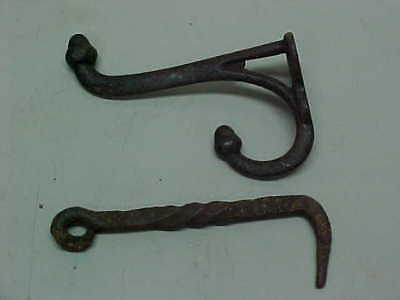 2 Old Antique Hooks - Twisted Iron Hand Forged & Vintage Acorn Robe Hook