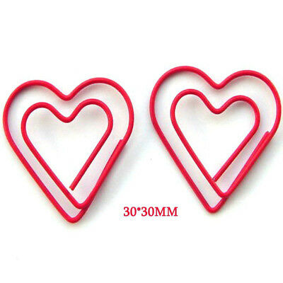24pcs Paper Clips Creative Metal Heart Shaped Clamps Bookmark Art Projects 30mm