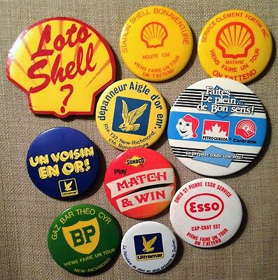 Lot 10 Vintage Shell British Petroleum Sunoco & Esso Buttons Ad