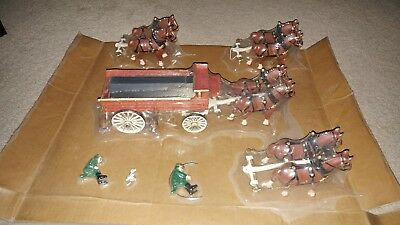 Vintage Cast Iron Horse Drawn Beer Wagon, Dog, 2 Drivers, 8 Clydesdales, Barrels