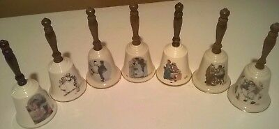 Norman Rockwell Bells Wooden Handles w. Limited Editions Lot of 7 Gorham