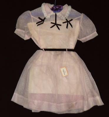 VTG 50s GIRL PINK WHITE BUBBLES DOTS & BLACK SHEER CHIFFON PARTY DRESS NEW OLD 7