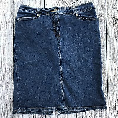 Oh Baby Motherhood Maternity Denim Blue Jean Skirt Modest Sz Small 4 6 Ladies