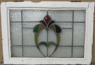"MID SIZED OLD ENGLISH LEADED STAINED GLASS WINDOW Abstract Floral 24"" x 17"""