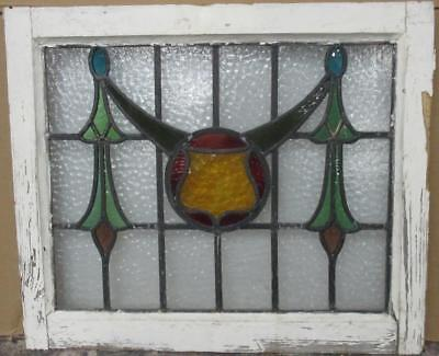 "MID SIZED OLD ENGLISH LEADED STAINED GLASS WINDOW Gorgeous Geometric 20"" x 24"""