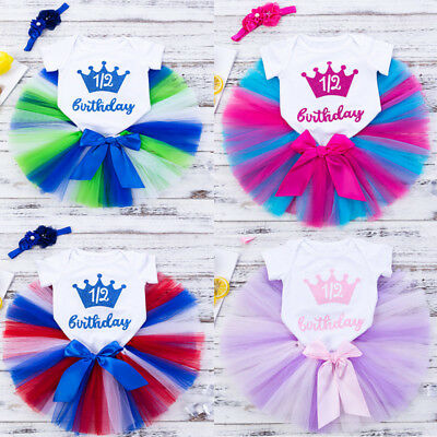 AU Toddler Infant Girl Romper Jumpsuit First Birthday Crown Tutu Party Dress Set