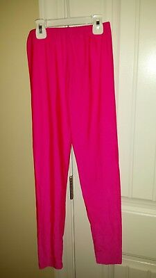 Women's Hot Pink Shiny Lycra Shimmer Spandex 80's style leggings Size M; Hot!
