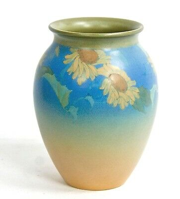 "ROOKWOOD 6 1/8"" SUNFLOWER & LEAVES MAT GLAZE #363 FREDRICK ROTHENBUSCH circa1930"
