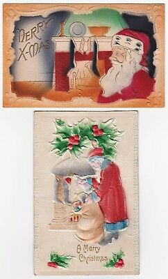 SUPER - 2 Santa Claus Postcards - Heavily Embossed w FUR Fabric Germany ca 1908