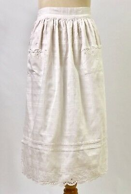 Vintage White Cotton Embroidered Apron, Long Ties Pockets Civil War Era Selvedge