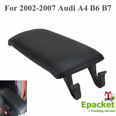 Leather Armrest Center Console Lid Cover for 2002-2007 Audi A4 B6 B7 Black GF