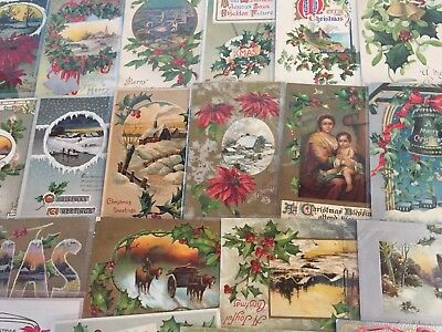 Nice Lot of 25 Vintage 1910 Christmas Holiday Postcards Antique-m93