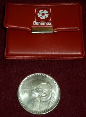 1979 POPE JOHN PAUL II MEXICO VISIT .925 SILVER MEDAL, Mo MINT, 26.3 Gm in CASE!