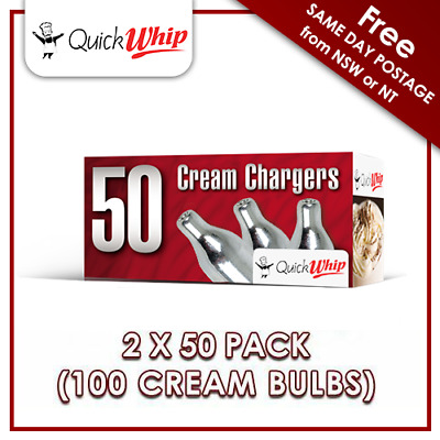 QuickWhip 8g N20 Bulbs - 50 PACK X 2 (100 CREAM CHARGERS) Pure Nitrous Oxide