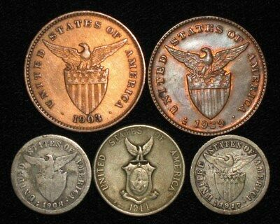 5 Coins from the Philippine Islands.  1903-1944.   No Reserve!!