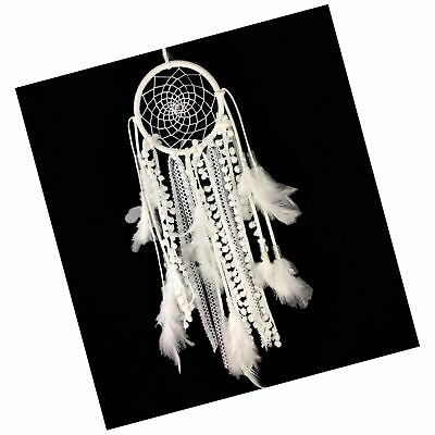 Dremisland Dream catcher Handmade Traditional White Feather Wall Hanging Car ...