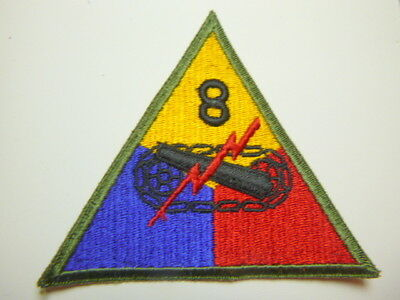 A     WW 2 U S Army 8th Armored Division  Cut Edge Snow Back Patch