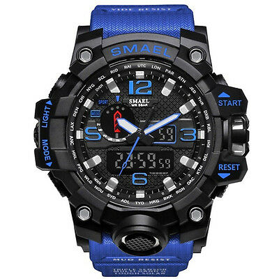 LED Electronic Wrist Watches SMAEL Men Sport Watch Dual Display Analog Digital