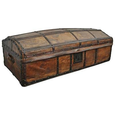 Early 20th Century Antique Spanish Parchment and Forged Iron Trunk