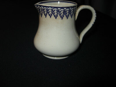 "Antique Blue Feather Small 3"" Feather Edge Pitcher  Porcelain Applied Handle"