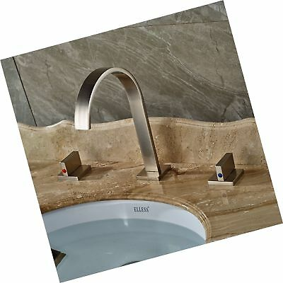 ROZIN BRUSHED Nickel Widespread 3pcs Bathroom Sink Faucet Double ...