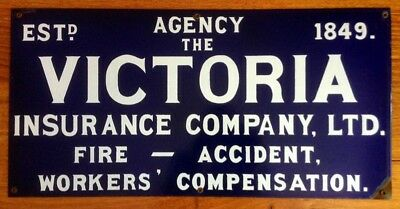 OLD  & VERY COLLECTABLE THE VICTORIAN INSURANCE COMPANY - ENAMEL SIGN (c1800's)