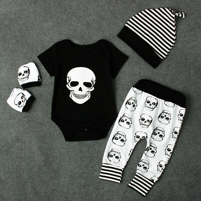 AU Newborn Kids Baby Boy Skull Outfits Clothes Tops+Long Pants Hat 4pcs Set
