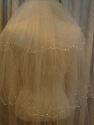 Wedding Veil Ivory With Pearls 3 Tier