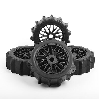 RC 4Pcs Rubber Snowfield Desert Tires&Wheel 17mm Hex for HSP 1:8 RC Buggy Car