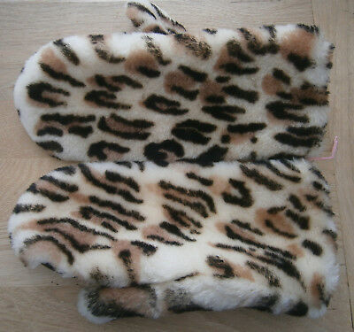 VINTAGE 1960s FAUX OCELOT FUR & BROWN LEATHER MITTENS 7.5 MADE IN ENGLAND UNUSED