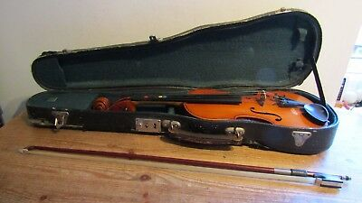 Vintage ? Croydon Education Committee Old School Violin and Bow in Case
