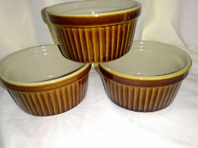 Set of 6 Brown Rayware Ramkin Dishes 9 cm