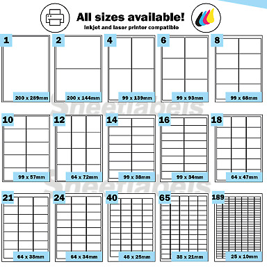 Labels Self Adhesive Sticky A4 Address stickers Sheets for Inkjet Laser Printers