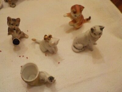 Lot Of 5 Assorted Mini Cat Figurines 2 Made In Germany 2 Japan