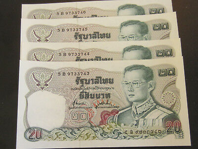 Lot of 4 Thailand Banknote, 20 Baht, 4 Consecutive UNC Note Set, US Buyers Only