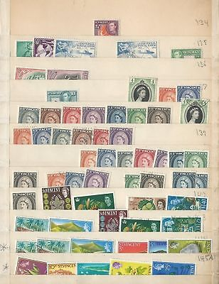 St Vincent Collection on 11 Pages, Unsorted Lot, Many Nice Stamps