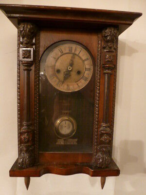 Antique small striking Vienna wall clock for spares or repair