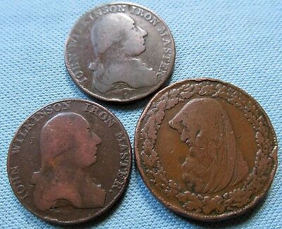 Lot 3 1700s British One Penny Token & Halfpenny Token Coppers Anglesey Wilkinson