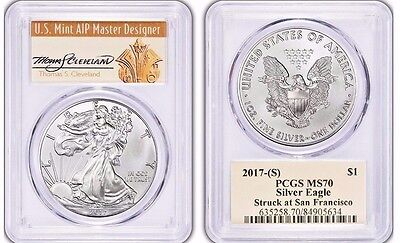 2017 (S) $1 American Silver Eagle PCGS MS70 THOMAS CLEVELAND POPULATION JUST 134